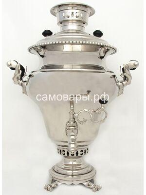 Антикварный самовар Капырзина в Туле фасон 'Дуля', в новом никеле, 1 клеймо, 2 медали на 8 литров