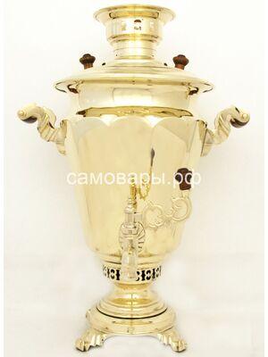 Антикварный самовар на дровах 'Зеркальная рюмка' Кольчугино, 1 клеймо на 5 литров + Труба латунная
