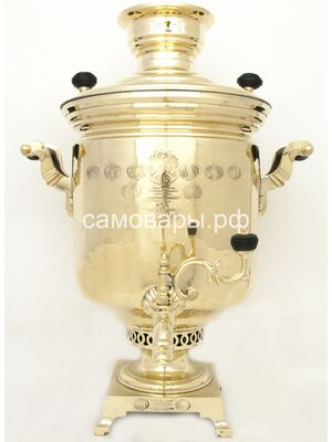 Антикварный самовар В.С. Баташева в Туле, 3 клейма, 24 медале на 10 литров