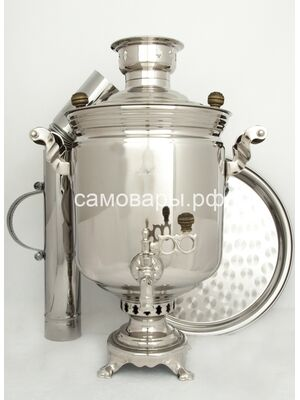 Комбинированные самовар (электрический и угольный) на 5 литров в никеле, набор №1