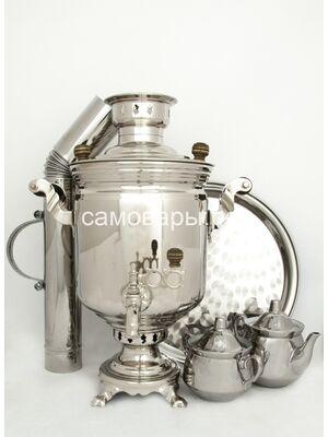 Комбинированные самовар (электрический и угольный) на 5 литров в никеле, набор №2
