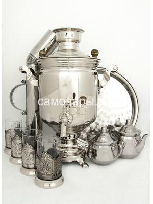 Комбинированные самовар (электрический и угольный) на 5 литров в никеле, набор №3