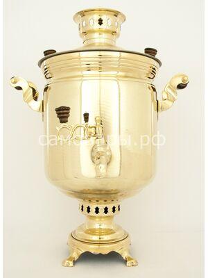 Комбинированные самовар на 5 литров полированная латунь (электрически и угольный) + труба