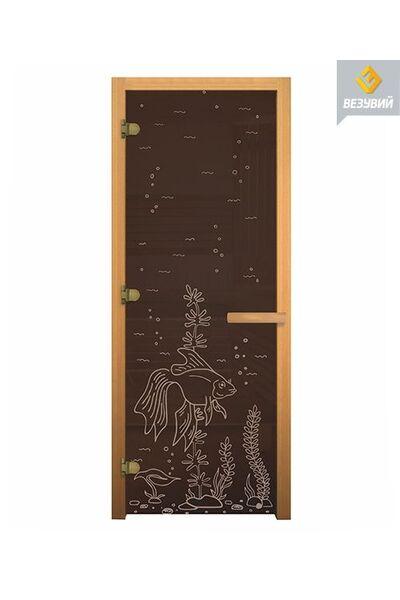 Двери для бани и сауны Бронза рыбка - Везувий