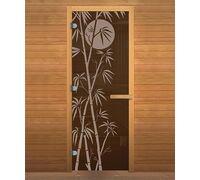 *Дверь для бани и сауны Бронза 'БАМБУК' 1900х700мм (8мм, 2 петли 716) (Магнит) (ОСИНА)
