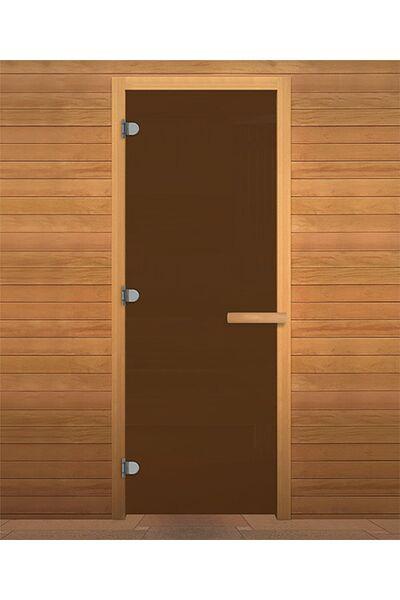 Дверь для бани и сауны Бронза Матовая 1900х700мм (8мм, 3 петли 716) (Магнит) (ХВОЯ)