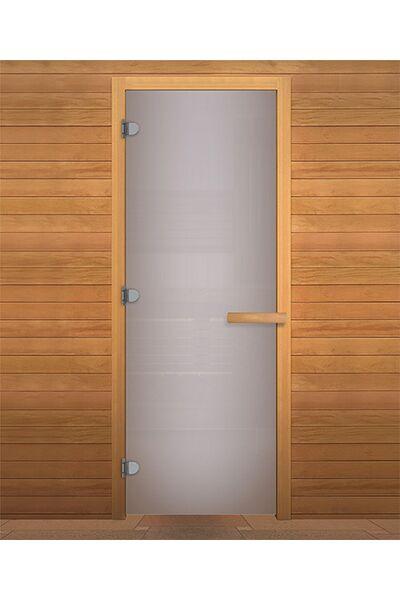 Дверь для бани и сауны Сатин Матовая 1800х700мм (8мм, 3 петли 716) (Магнит) (ХВОЯ)