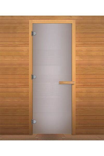 Дверь для бани и сауны Сатин Матовая 1900х700мм (8мм, 3 петли 716) (Магнит) (ОСИНА)