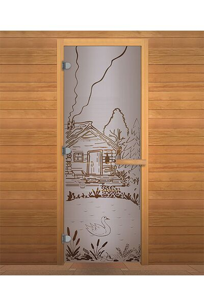 Дверь для бани и сауны Сатин Матовая 'БАНЬКА' 1900х700мм (8мм, 2 петли 716) (Магнит) (ОСИНА)