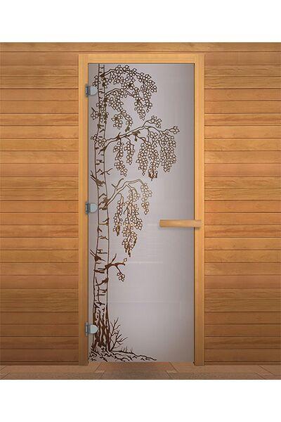 Дверь для бани и сауны Сатин Матовая 'БЕРЕЗКА' 1900х700мм (кор.хвоя)(правая)