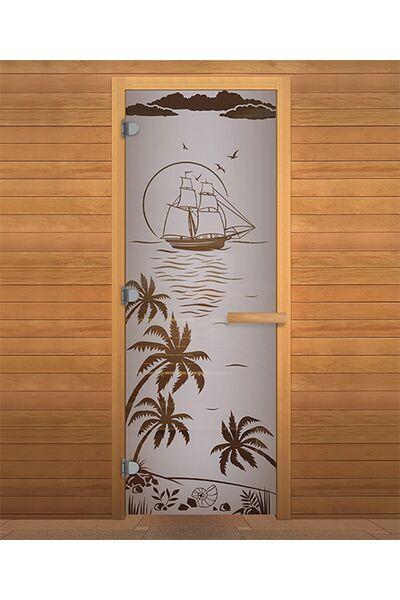 Дверь для бани и сауны Сатин Матовая 'ЛАГУНА' 1900х700мм (8мм, 2 петли 710) (Магнит) (ОСИНА)
