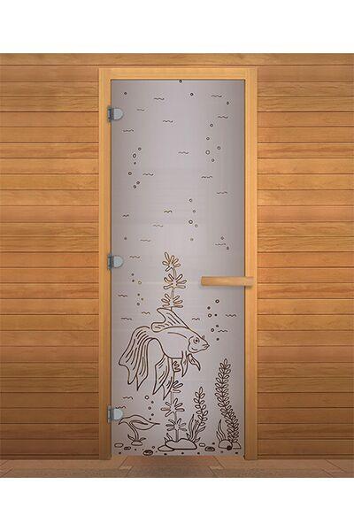 Дверь для бани и сауны Сатин Матовая 'РЫБКА' 1900х700мм